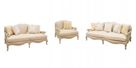 Benetti's AVA Luxury Ivory Chenille Sofa Set 3Pcs Wood Trim Classic Traditional