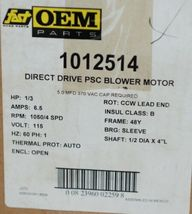 Emerson 1012514 OEM Parts Direct Drive PSC Blower Motor 115 Volts image 8