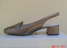 NEW ANNE KLEIN BROWN BRONZE LEATHER SLINGBACK PUMPS SIZE 8.5 M $80 - $47.99