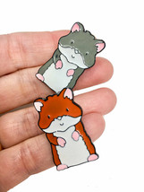 Set of 2 Hamster Brooch Lapel Pin, Gray & Brown Enamel, Animal Lover Jewelry - $10.45