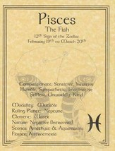 Pisces (Zodiac) Parchment-Like Book of Shadows Page! - $1.95