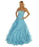 Sexy Strapless Corset Aqua Cinderella Mermaid Prom Evening Gown Joli 953... - $378.99