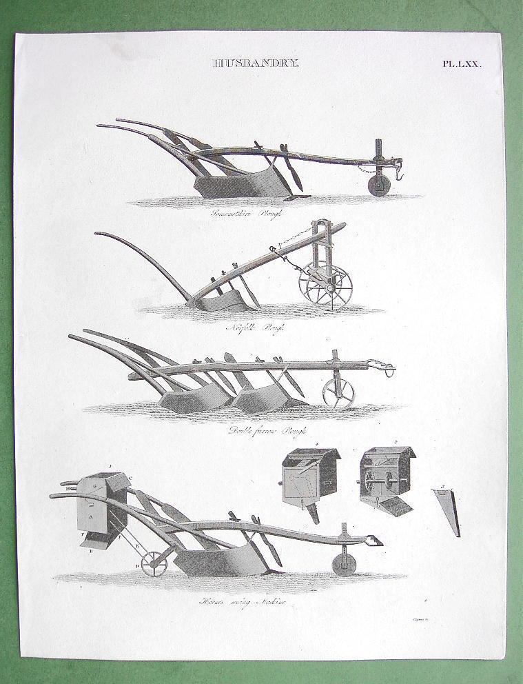 Primary image for AGRICULTURE Farming Husbandry Types of Plows - 1816 Original Antique Print