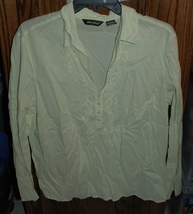 XL Eddie Bauer Floral Embroidered Semi-sheer Boho LS Pullover Cotton Blouse - $30.00