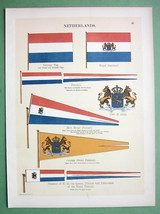 HOLLAND Coat of Arms Royal Standard Naval Flags  - 1899 Color Litho Print - $13.17