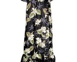 "Women's Long Muu'Muu Black ""Orchids Makani"" Hawaiian Print/Made in USA"