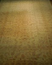 New Vintage Look Perfect Chobi Hand-Knotted 12x18 Beige Oushak Wool Rug image 3