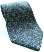 Hermes Blue White Chain Link Necktie 100% Silk Geometric Made in France - $99.00