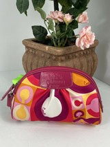 New Coach Cosmetic Bag Valentine Pink Scarf Print F42348 Sateen Leather M4 - $58.79