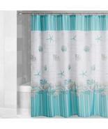 Shell Starfish Wreath Aqua Fabric Shower Curtain Coastal Beach Nautical ... - $29.58