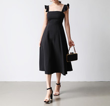 Black Sleeveless Square Neck Cocktail Dress Women Chiffon Midi Cocktail Dresses image 1