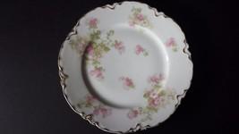 VTG Haviland  Limoges Fine China Scalloped Edge 8 1/2 Salad Plate Gold Trim Pink - $22.76