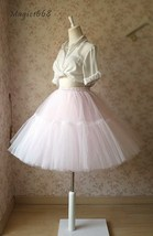 Puffy Layered Tulle Skirt High Waisted Ballerina Tulle Skirt Pink Plus Size image 5