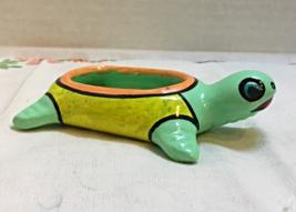 Vintage Mexican Pottery Folk Art Terracotta TURTLE Trinket Dish // RING DISH - $4.99