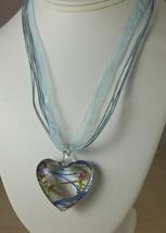 Lampwork Glass Heart Pendant Necklace on Silk Ribbon Swirly Pink Blue De... - $9.74
