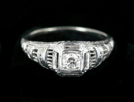 Antique Art Deco 14k White Gold 0.14ct Mine Cut Diamond GHI Filigree Rin... - $269.99