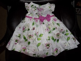 FIRST IMPRESSIONS Cradle Pink Flower Dress W/Bottoms Size 6/9 Months Gir... - $16.20