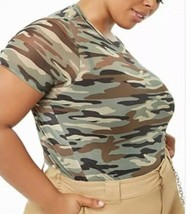 Forever 21 + Plus Sheer Mesh Camouflage Camo Print Tee T-shirt plus Size... - $14.29
