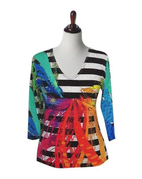 "Valentina Signa Embellished 3/4 Sleeve Multi-Color ""Splash"" Top - Extra 10% Off!"