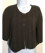 Style & Co Jeans Womens Cardigan Sweater Medium Olive Green 3/4Sleeve Open Front - $19.79