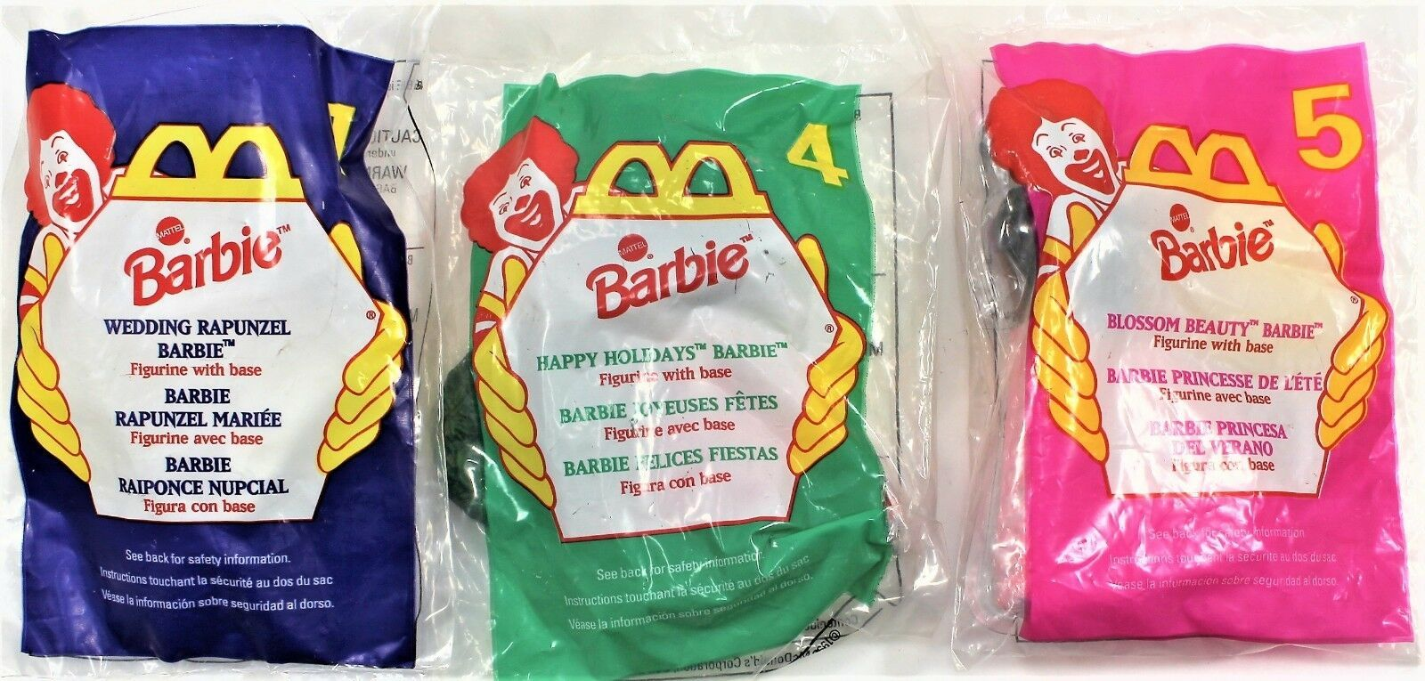 Primary image for McDonald's 1996 Barbie Happy Meal Toys Complete Set of 3 New in Package