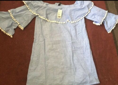 Forever 21 Blue & White Striped Tiered Ruffle Pom Pom Off The Shoulder Dress M image 7