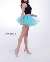 WOMEN MINI TUTU Skirt Drawstring Waist Solid Color Mini Petticoats Ballet Skirts image 5