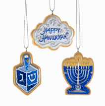 "KURT ADLER BOXED SET OF 6 RESIN 2"" HANUKKAH INTERFAITH CHRISTMAS ORNAMENTS - $19.88"