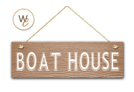 """BOAT HOUSE Sign, 5.5"""" x 17"""" Wood Sign, Rustic Home Decor, Door Sign, Lake House - $20.25"""