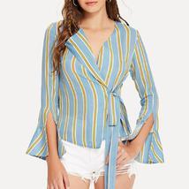 Blue & Yellow Stripe Wrap Top - $15.16