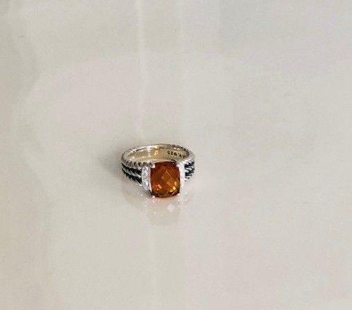 David Yurman Petite Wheaton Ring with Citrine & Diamonds 7mm Sz 6.5 Authentic