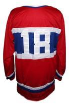 Custom # Montreal Retro Hockey Jersey New Red Any Size image 2