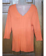 L. A. Blues Coral Ribbed V-Neck Sweater - Size 18/20W - $16.82
