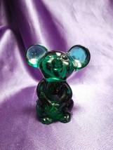 Fenton 04 NFGS Dark Green Mouse Glass Art - $24.75
