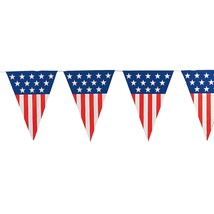"""Patriotic Pennant Banner 24-ft. Includes 12 plastic 28"""" pennants - $9.49"""