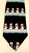 "Hallmark Men's Snowmen Winter Christmas Tie Candy Canes 59"" x 4"" Excellent - $3.99"