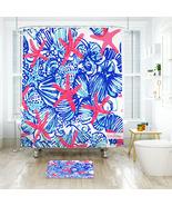 Lilly Summer She She Shells Shower Curtain Waterproof & Bath Mat For Bat... - $15.30+