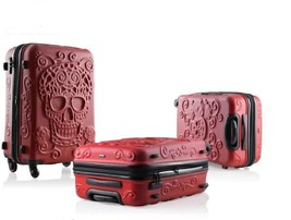 "Rolling Luggage Spinner Travel Suitcase 3D Skull Design Trolley Bag 19"" ... - $141.16+"