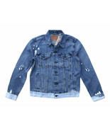 Levis Jeans Mens Faded Blue Bleached Ombre Denim Trucker Jacket Red Tab ... - $66.49