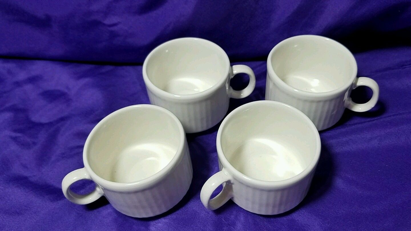 Pagnossin Special Edition Ironstone Espresso Cups 744 White Made In Italy