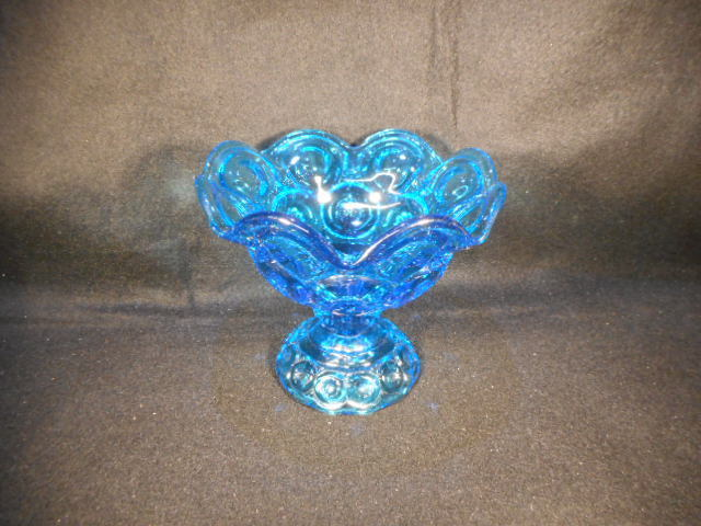 Vintage Moon and Stars L. E. Smith Deep Blue Pedestal Candy Pompote Dish