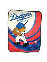 DODGERS Baseball Teddy Bear Thick Blanket MLB Genuine 40x50 Child Baby F... - $23.22