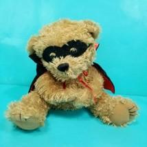 "Teddy Bear Hand Puppet Black Red Cape Mask Plush Stuffed Animal Bandit 7""  - $15.83"