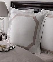 2 Ralph Lauren SUITE Framed Pique Euro Shams Mink Taupe on White $350 - $109.20