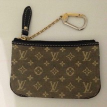 Authentic Louis Vuitton Mini Lin Brownish Mono Coin-Key Case 5in x3.5in ... - $189.95