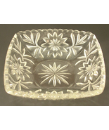 Pressed Glass Square Bowl with a Leaf and Starburst Sunburst Pattern - $25.00