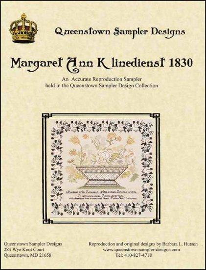 Margaret Ann Klinedienst 1830 sampler cross stitch chart Queenstown Sampler Desi