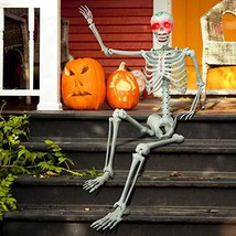 proxracer 5.4 Ft. Halloween Skeleton Life Size, Sound Activated with Glo... - $93.60