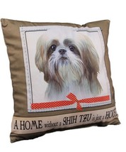 Shih Tzu Throw Pillow A Home Without is Just a House Dog Tan White Puppy... - $19.79