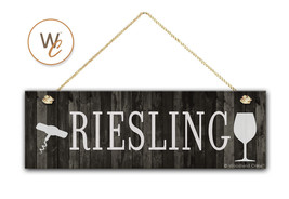 "RIESLING Wine Sign, Dark Rustic Wood Style, 5.5"" x 17"" Sign, Wine Bar - $20.25"